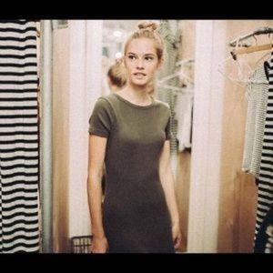 Brandy Melville Jenelle Ribbed Bodycon Dress Olive